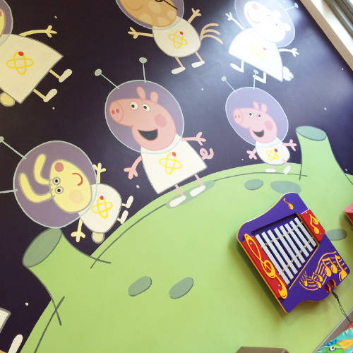 Musical Instruments and Soft Toys in George's Spaceship Indoor Playzone at Peppa Pig World